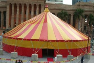 This tent is a 1 pole tent. Has no rigging truss built in. (shown in picture without its red walls) ... & Nomadic Tents